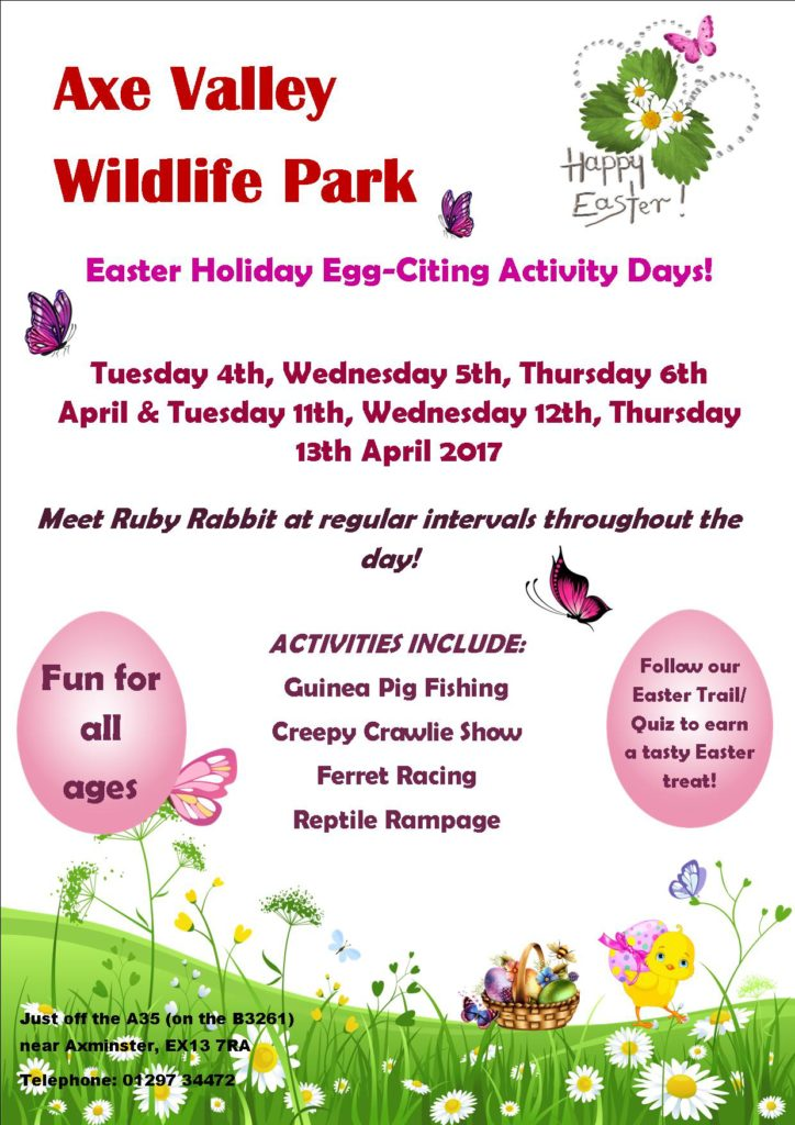 A poster about Easter activities at Axe Valley Wildlife Park