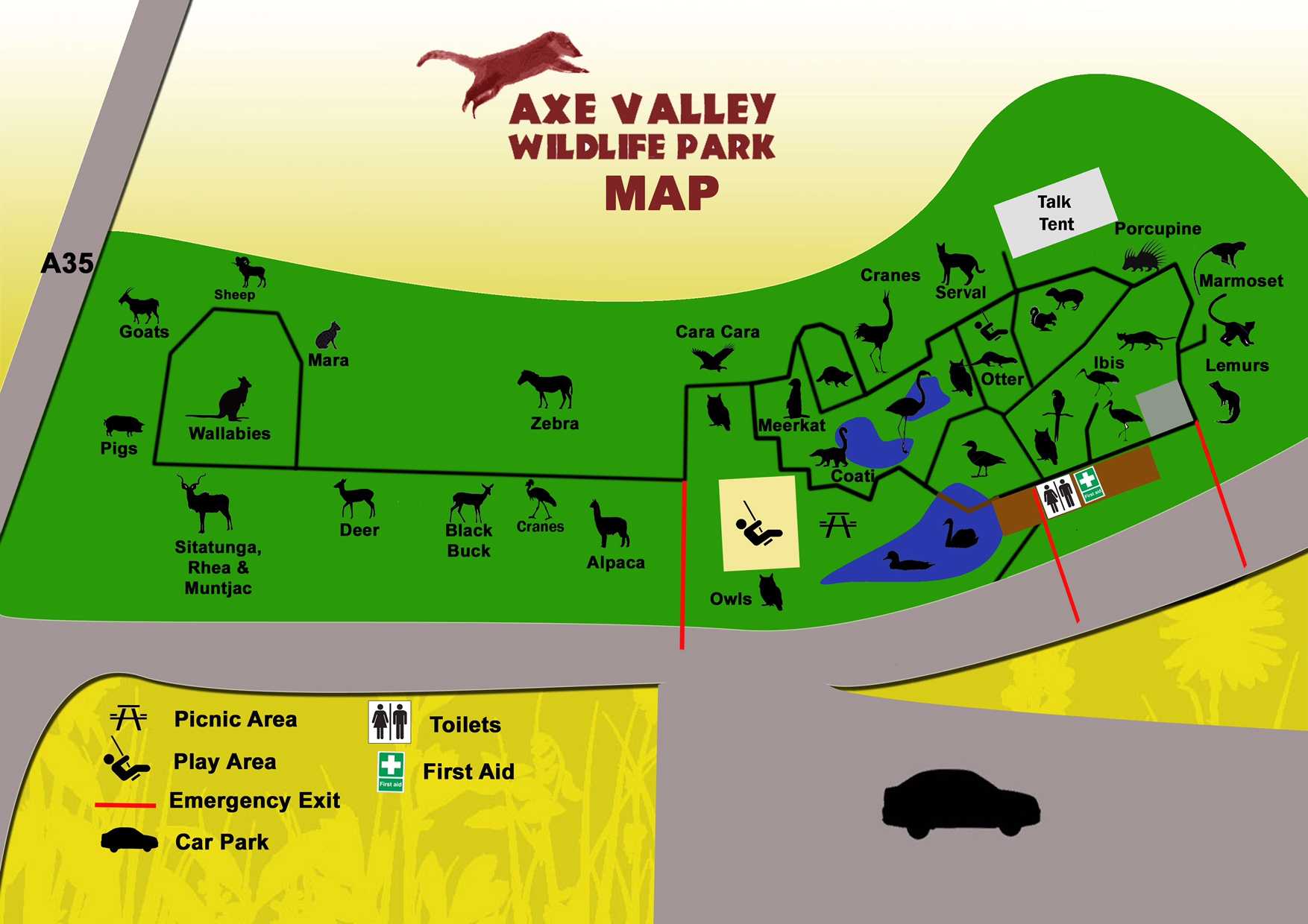 Axe Valley Park Map - Axe Valley Wildlife Park on